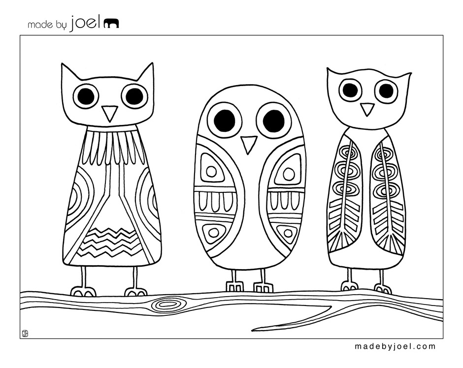 Owl And Babies Coloring Page