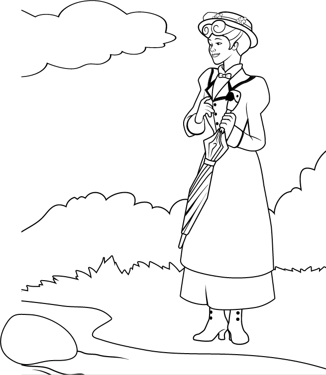 Mary Poppins Coloring Pages Coloring Home Poppins Coloring Pages