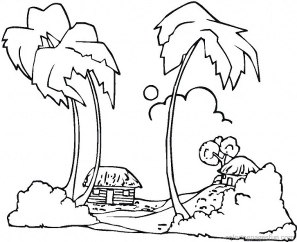 Lovely Beach Coloring Pages