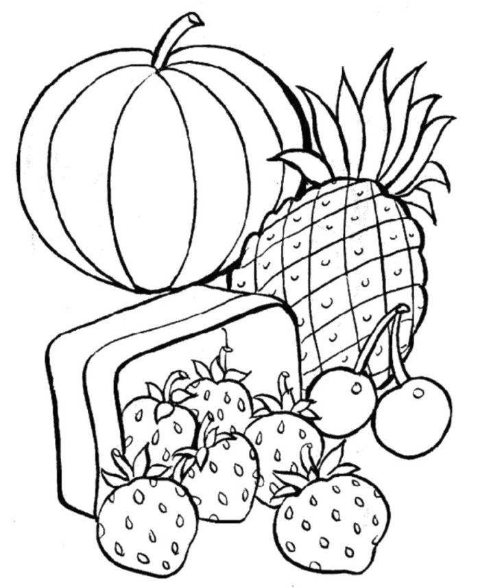 Fresh Fruits And Sweet In Basket Coloring Pages