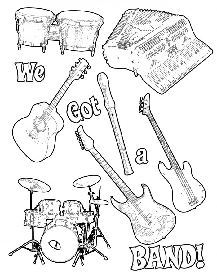 musical instrument coloring pages print out az coloring