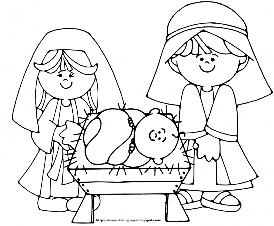 baby jesus coloring page drawing and coloring for kids 240965