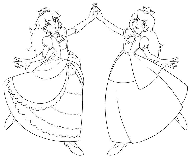 Princess Daisy And Peach Coloring Pages Coloring Home