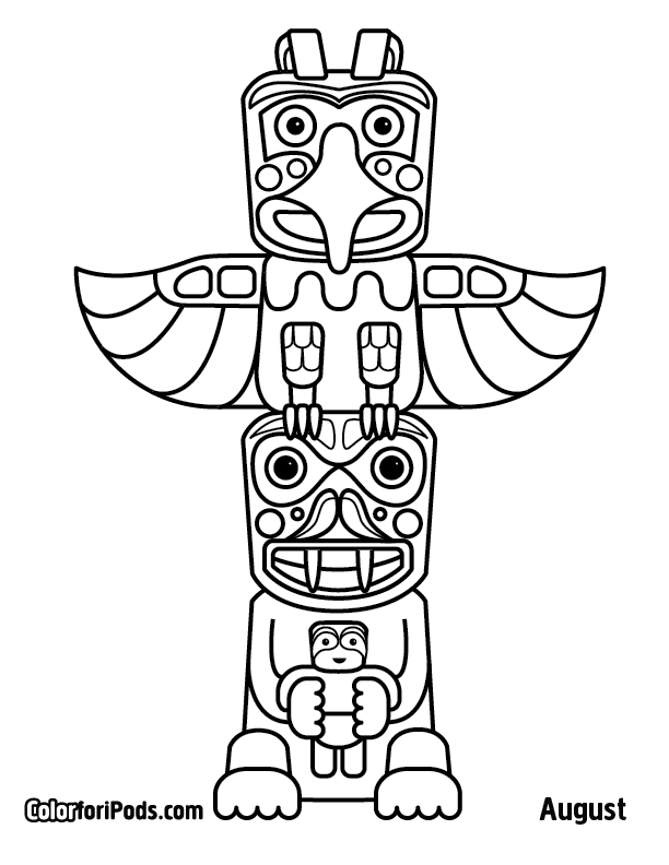 Totem Pole Drawing Totem Pole Bear Colouring