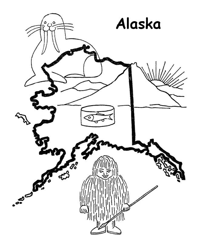 Alaska State Seal Coloring Page Coloring Home Alaska Coloring Pages