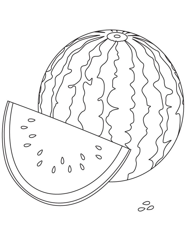 Watery watermelon coloring pages | Download Free Watery watermelon