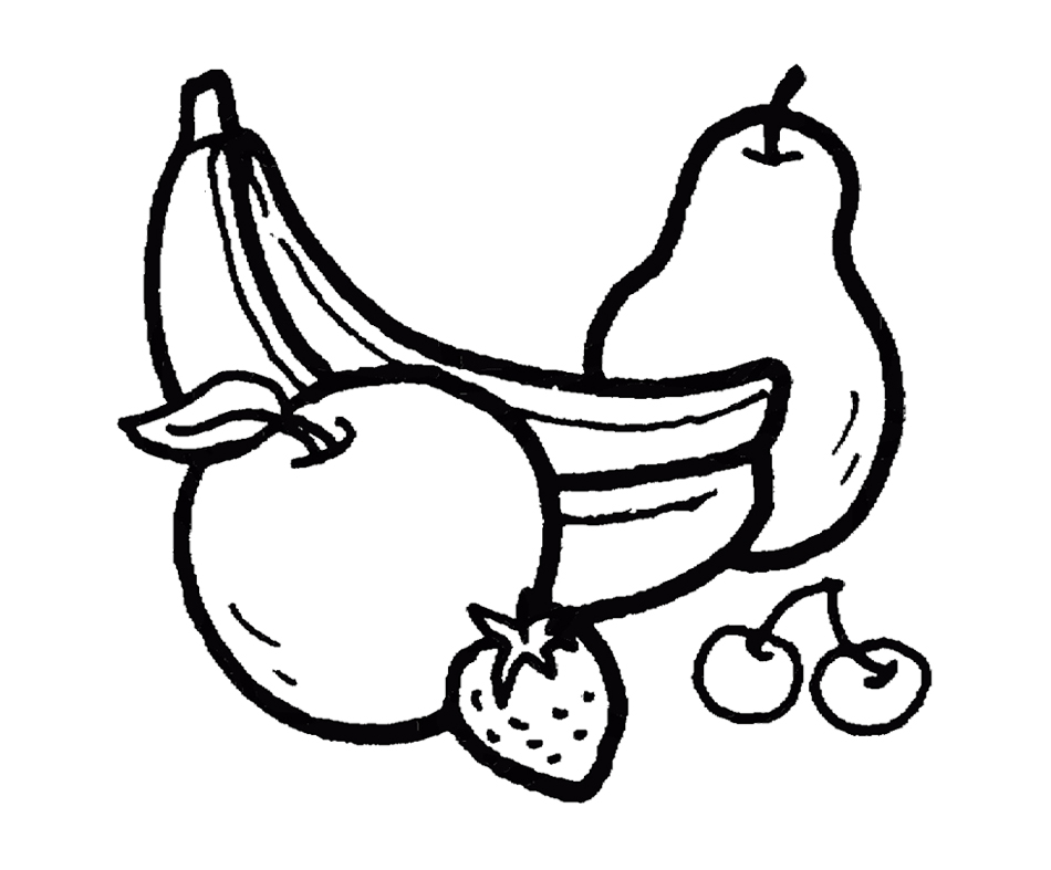 Apples And Bananas Coloring Pages : Fruit basket image az coloring pages