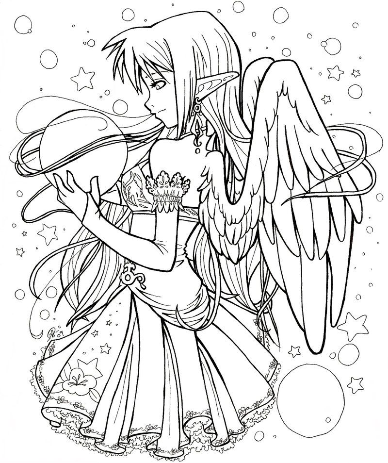 Angel coloring pages for adults coloring home for Online anime coloring pages