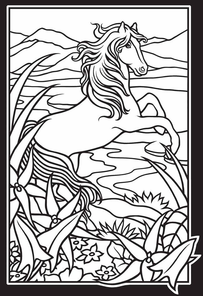 Wild Horses Stained Glass Coloring Book | coloring pages