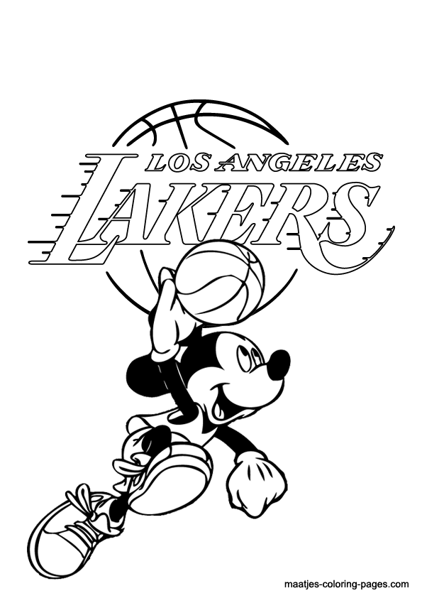 la lakers and mickey mouse coloring page
