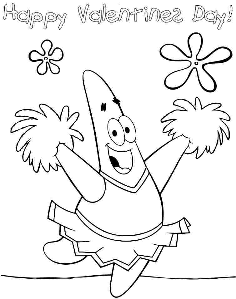 spongebob valentine day coloring pages - photo#8