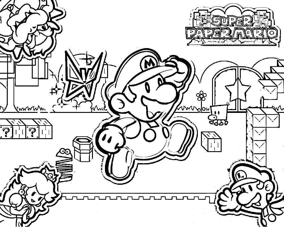 Super Mario Luigi Princess Peach And Bowser Coloring Page Free