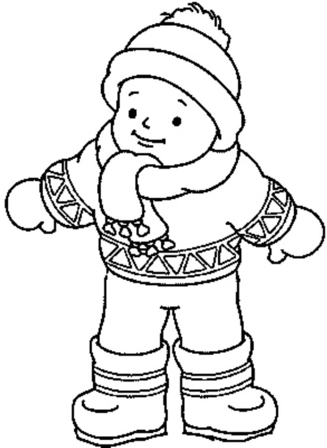 Print Little Boy Wearing Winter Clothes Coloring Page Or Download