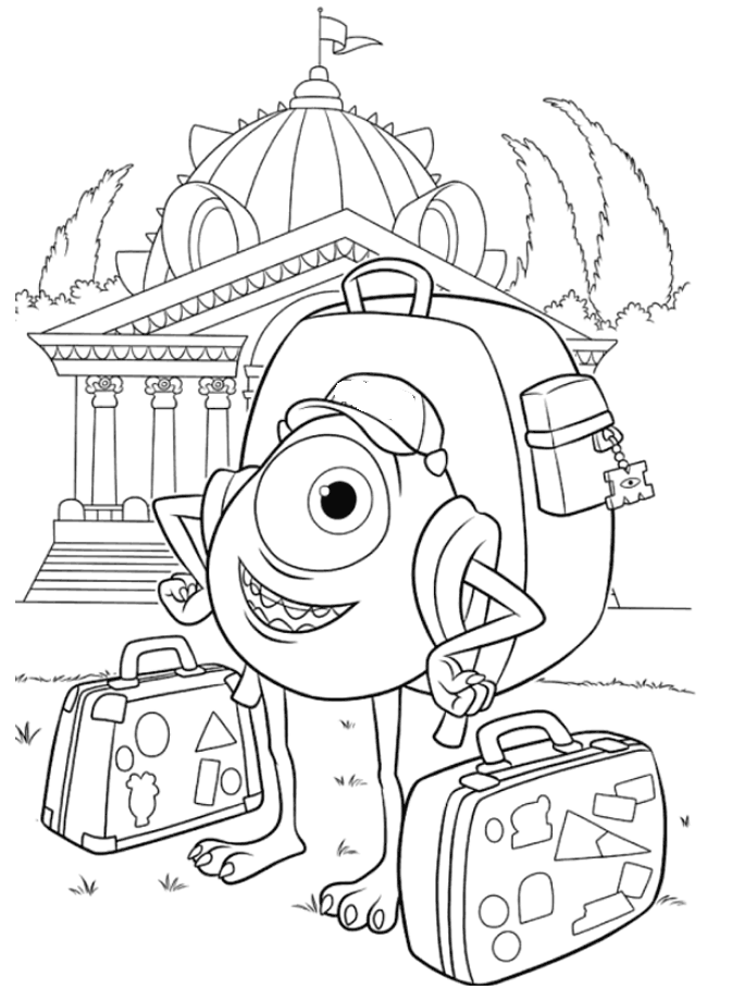 Mike The Monster Carrying Bag Coloring Pages - Monster Inc