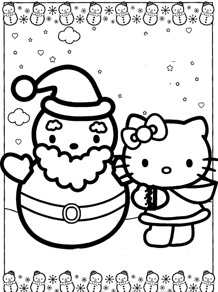 hello kitty christmas coloring pages free print - hello kitty christmas coloring pages az coloring pages