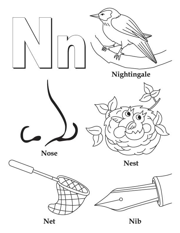My A to Z Coloring Book Letter N coloring page | Download Free My