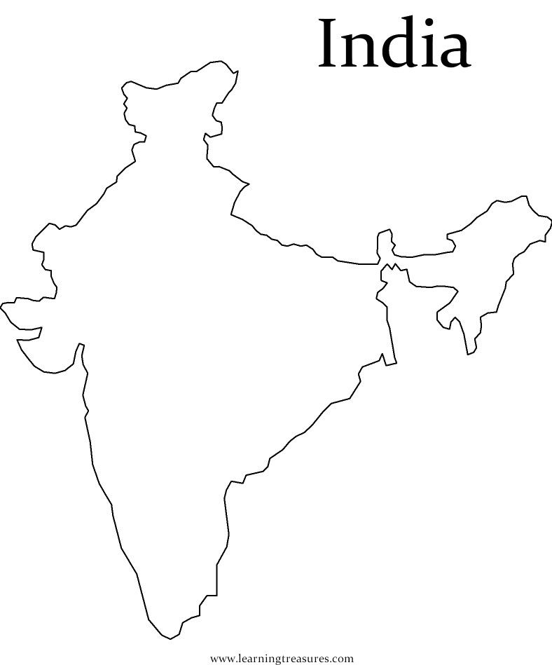 Map India For Kids Coloring Home