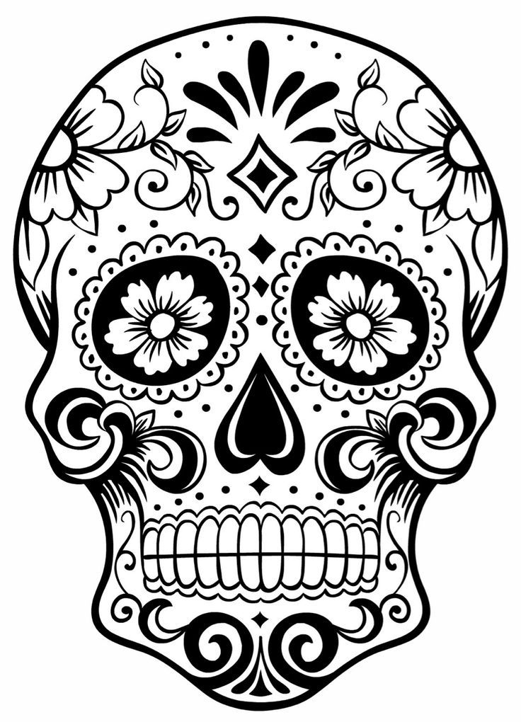 Sugar Skull Colouring Page DAY OF THE DEAD