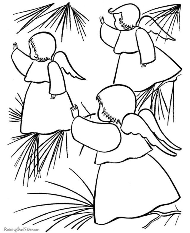 Beautiful Angel Christmas Tree Ornaments Christmas Decorations Coloring Pages Free