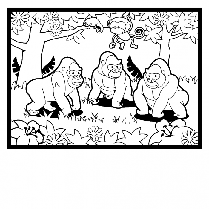 gorilla coloring pages for kids - coloring home - Silverback Gorilla Coloring Pages