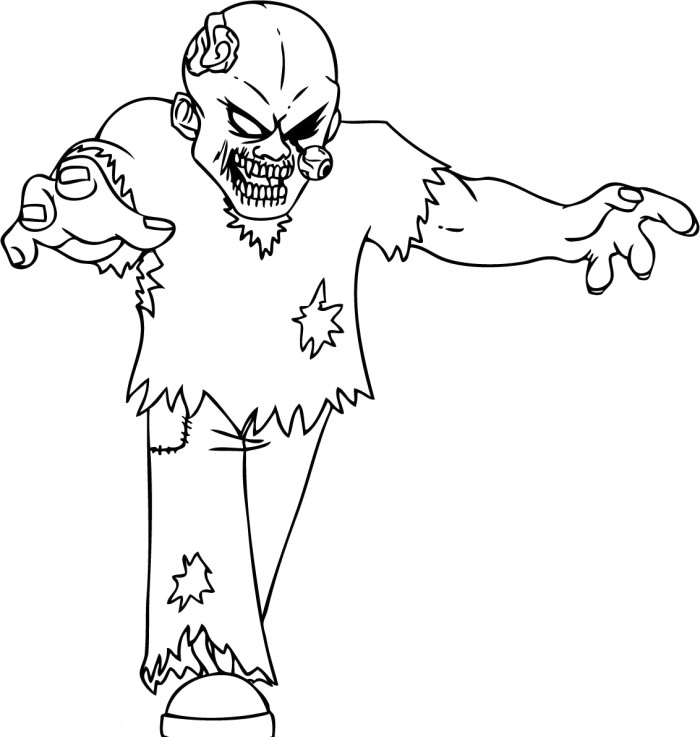 Terrible Zombie Coloring Pages - Halloween Cartoon Coloring Pages ...