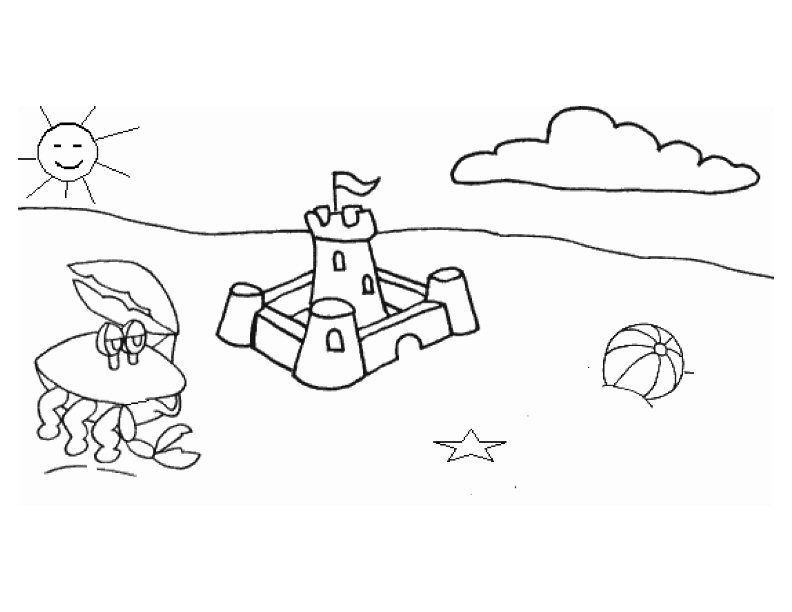 Preschool Beach Coloring Pages