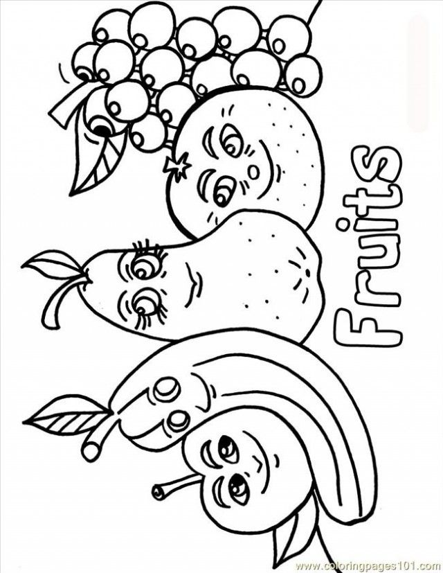 Printable Fruits and Vegetables Coloring Pages For Kids | Coloring