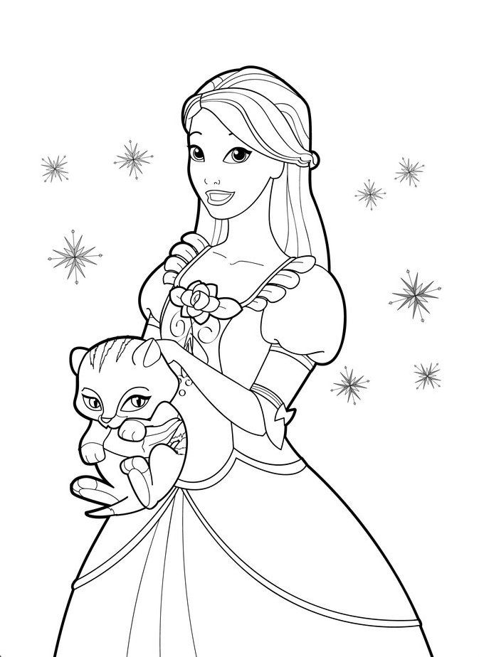barbie cat coloring pages - photo#10