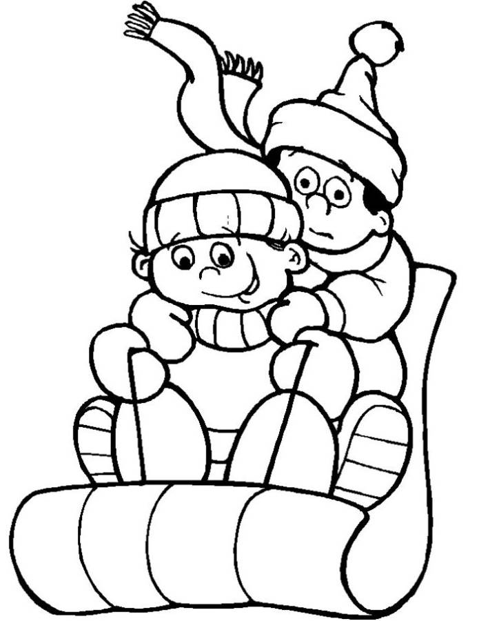 Print Sledding On Snow Winter Coloring Pages Or Download