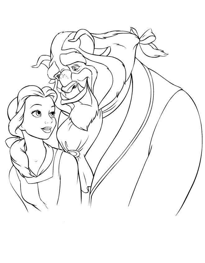 Belle Got Bouquet From Beast Coloring Page | Kids Coloring Page