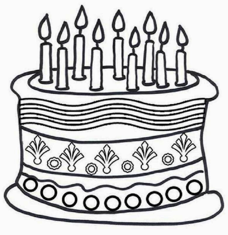 Cake Pictures To Print And Colour : Birthday Cake Printable - Coloring Home