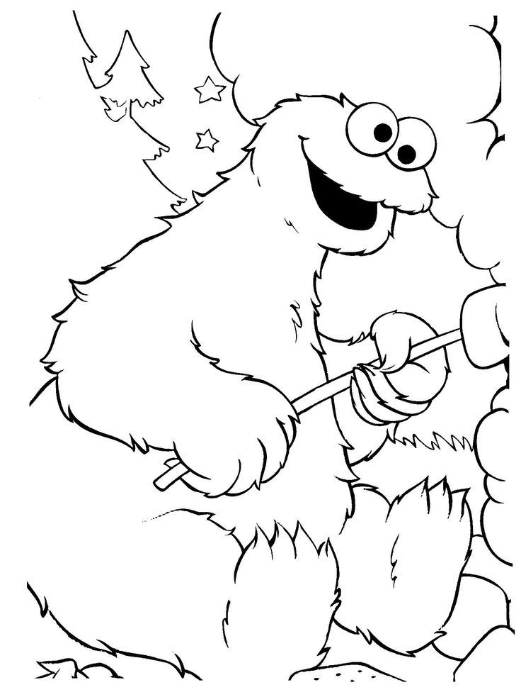 cookie monster head coloring pages