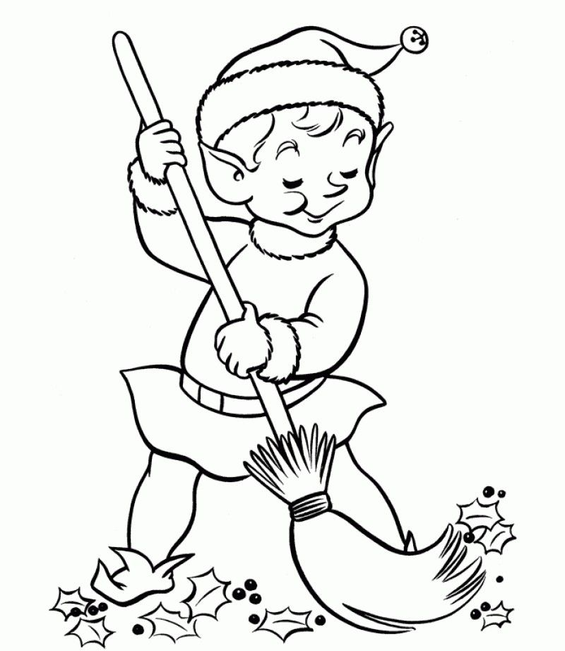 Kids Cleaning Coloring Page
