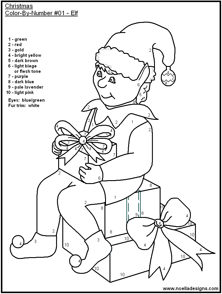 Color By Number Christmas Pages Coloring Home