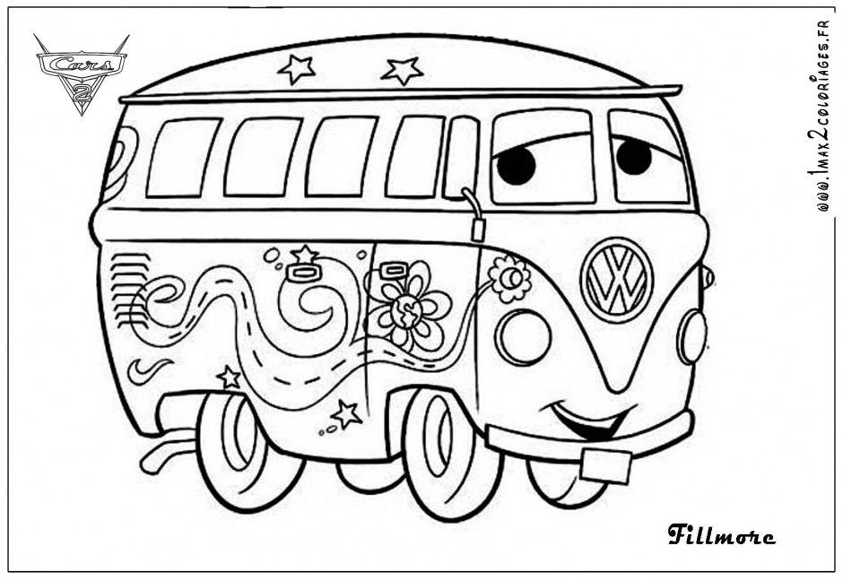 hippie bus coloriage 240759 cars movie coloring pages