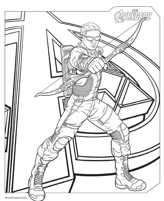 Coloring Pages Avengers Hawkeye | Free coloring pages for kids