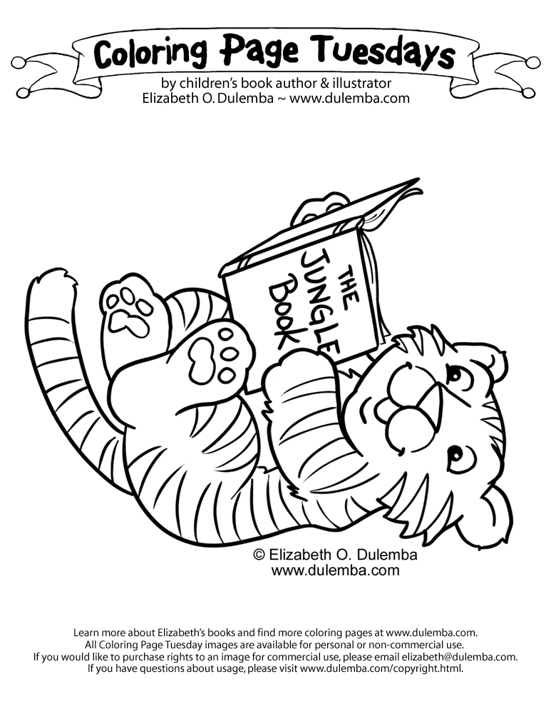 dulemba: Coloring Page Tuesdays - Baby Tigers love to read!
