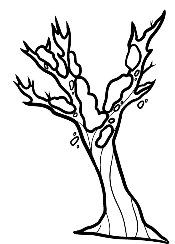 Beautiful Bare Tree Without Leave Coloring Page Best Resolutions