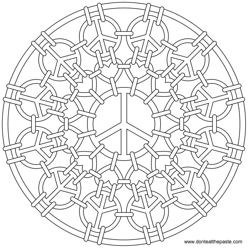 Coloring pages peace signs az coloring pages for Peace sign mandala coloring pages