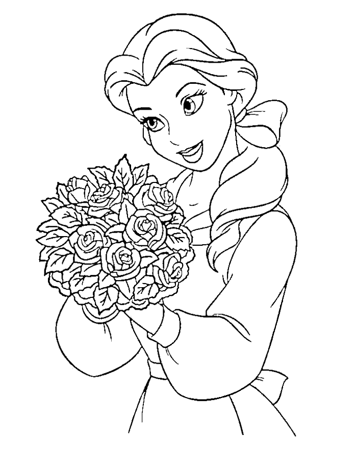 Princess Belle Carry Flowers Coloring Pages - Disney Coloring