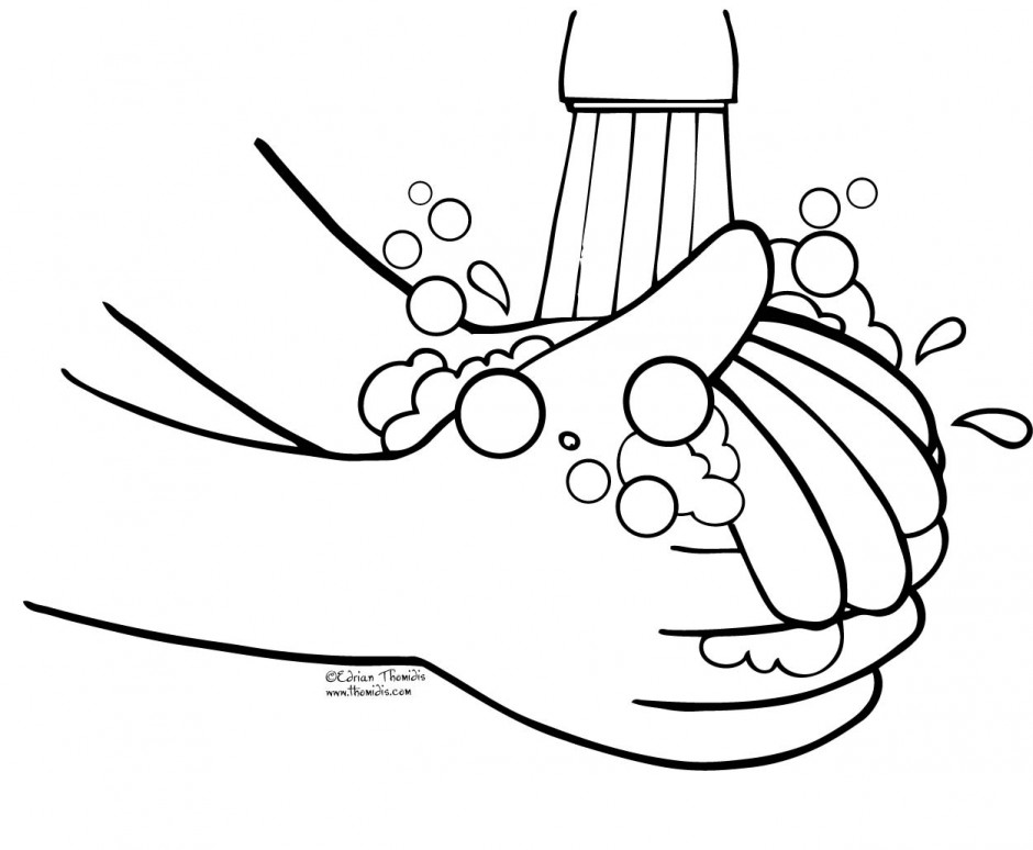Hand Washing For Kids Coloring Pages
