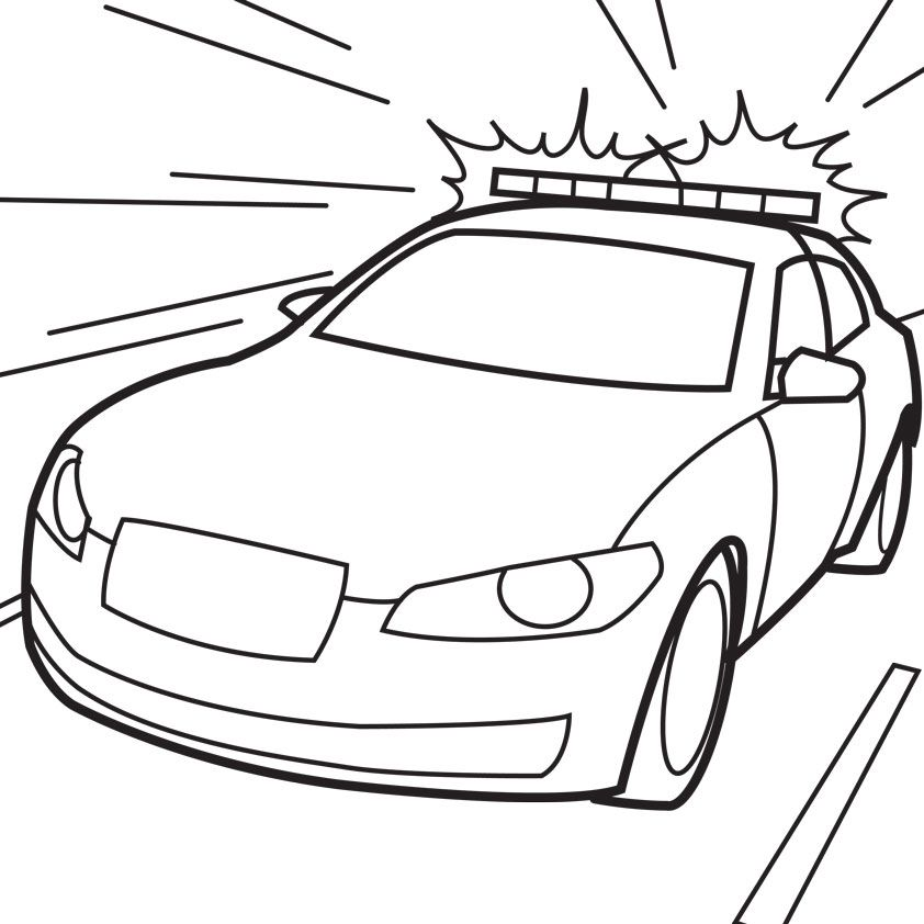 Police Car Coloring Pages Drag Racer Spaceship Caricatures Cartoon