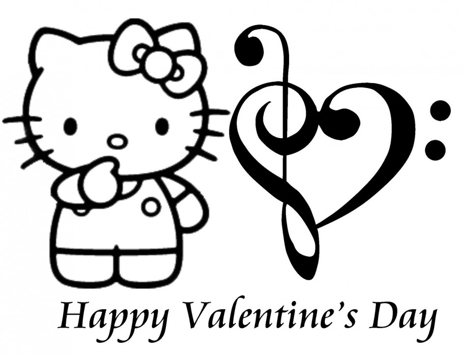 Coloring Pages Hello Kitty Valentine : Hello kitty valentines day coloring pages az