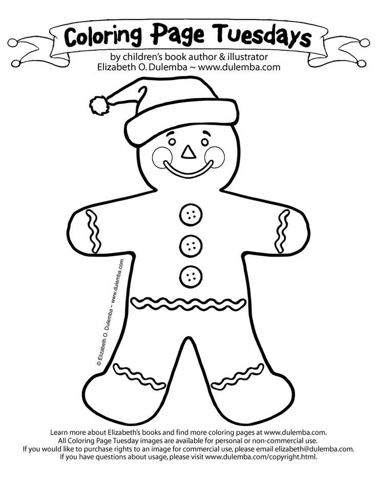 For Coloring Gingerbread Man With Santa Hats | Search Results ...