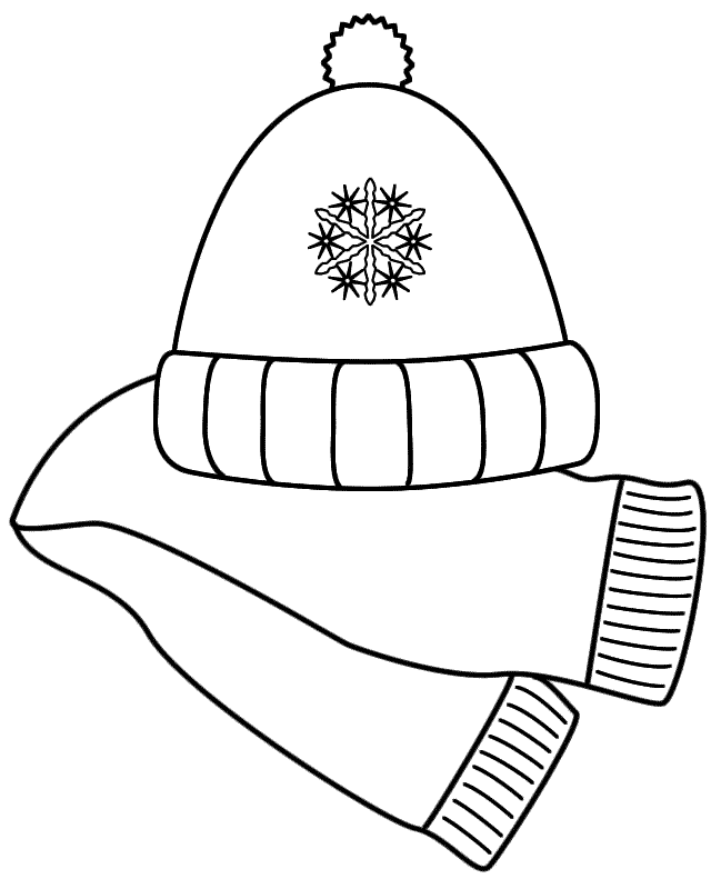 Scarf And Winter Hat Coloring Page Coloring Home Color Printable Winter Pictures Of Hats