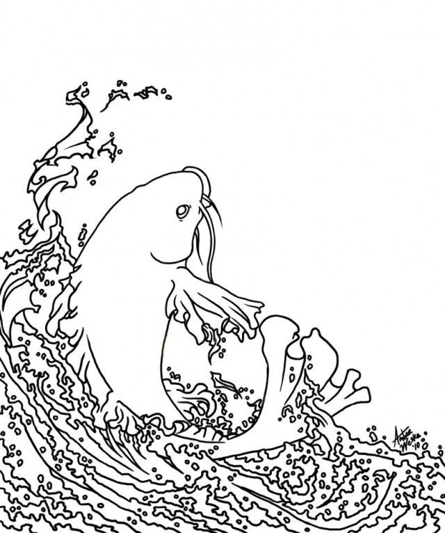 Online Coloring Book Koi Fish Pages Printable