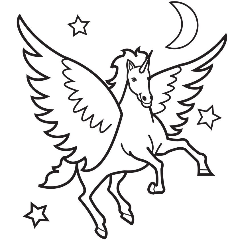 Top 10 Free Printable Pegasus Coloring Pages For Toddlers | 842x842