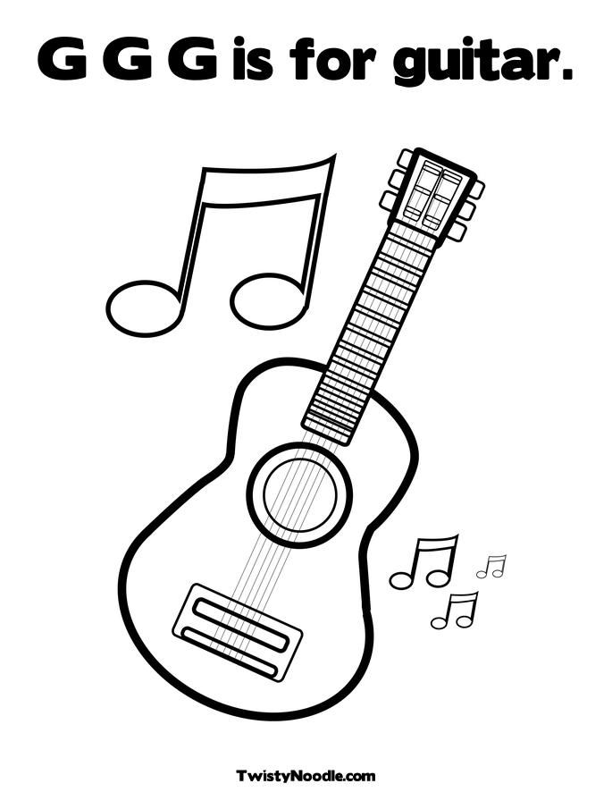 guitar coloring pages for kids