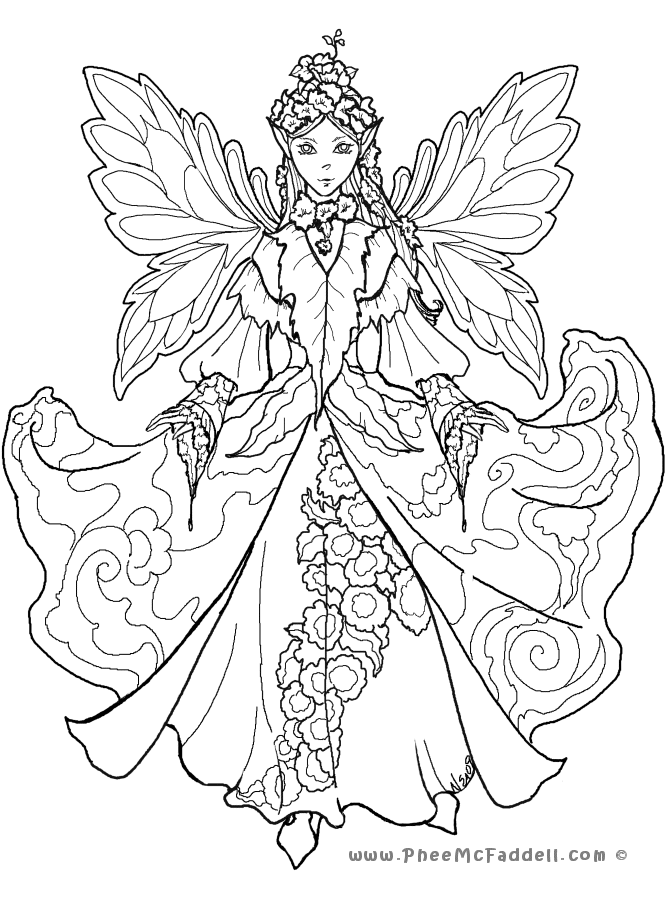 Coloring Pages For Adults Difficult Fairies : Fairy Coloring Pages For Adults Coloring Home