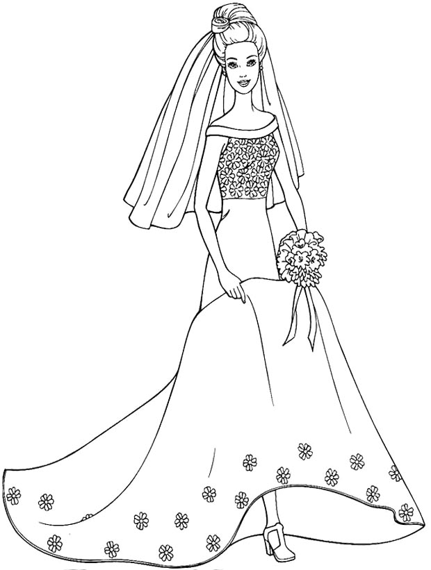 Wedding dress coloring pages az coloring pages for Barbie dress up coloring pages